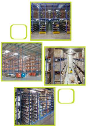 Adjustable pallet racking, having frames and beams, is made to provide a modularised warehouse storage solution. The system is easily accessible with Fork Lift trucks using palleted loads.