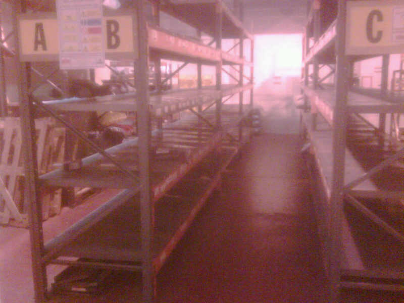 metal / wooden shelves racking 3